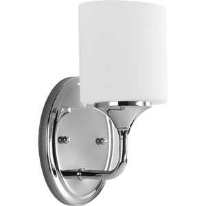 Lynzie Polished Chrome One-Light Bath Fixture with Opal Etched Glass