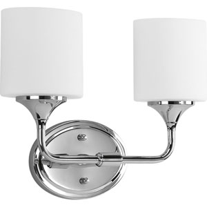 Lynzie Polished Chrome Two-Light Bath Fixture with Opal Etched Glass
