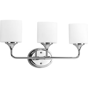 Lynzie Polished Chrome Three-Light Bath Fixture with Opal Etched Glass