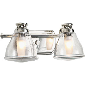 Academy Polished Chrome Two-Light Bath Fixture with Clear Seeded Glass Shade
