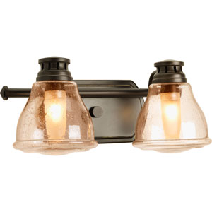 Academy Antique Bronze Two-Light Bath Fixture with Light Umber Seeded Glass Shades