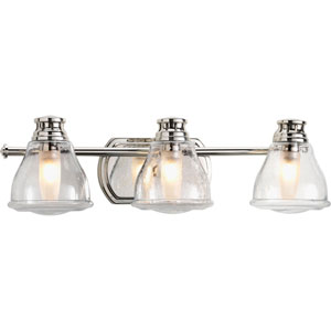 Academy Polished Chrome Three-Light Bath Fixture with Clear Seeded Glass Shade