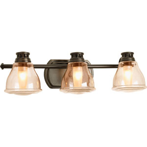 Academy Antique Bronze Three-Light Bath Fixture with Light Umber Seeded Glass Shades