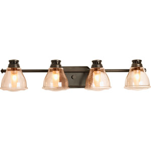 Academy Antique Bronze Four-Light Bath Fixture with Light Umber Seeded Glass Shades
