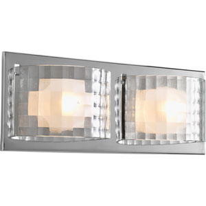 ClichT Polished Chrome Two-Light Bath Fixture with Clear Textured Glass Panels