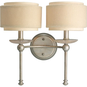 Ashbury Silver Ridge Two-Light Wall Bracket with Toasted Linen Drum Shades