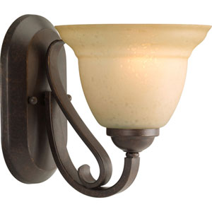 Torino Forged Bronze One-Light Bath Fixture with Tea-Stained Glass