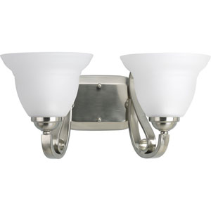 Torino Brushed Nickel Two-Light Bath Fixture with Etched Glass Shades