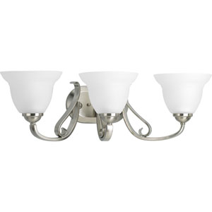 Torino Brushed Nickel Three-Light Bath Fixture with Etched Glass Shade