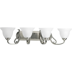 Torino Brushed Nickel Four-Light Bath Fixture with Etched Glass Shade