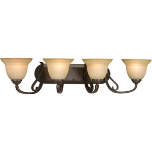 Torino Forged Bronze Four-Light Bath Fixture with Tea-Stained Glass