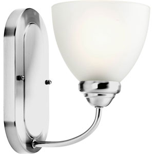 Heart Polished Chrome One-Light Bath Fixture with Etched Glass Diffuser