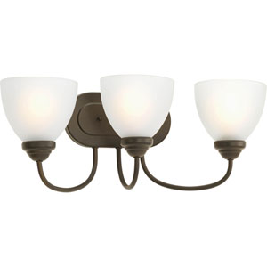 Heart Antique Bronze Three-Light Bath Fixture with Etched Glass Diffuser
