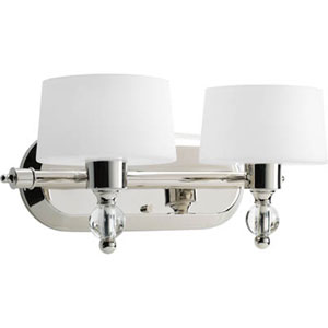 Fortune Polished Nickel Two-Light Bath Fixture with Opal Etched Glass Drum Shades