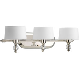 Fortune Polished Nickel Three-Light Bath Fixture with Opal Etched Glass Drum Shades
