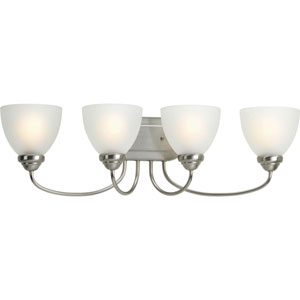 Heart Brushed Nickel Four-Light Bath Fixture with Etched Glass Diffuser