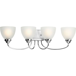 Heart Polished Chrome Four-Light Bath Fixture with Etched Glass Diffuser