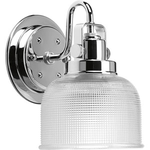 Archie Polished Chrome One-Light Bath Fixture with Clear Double Prismatic Glass Shade
