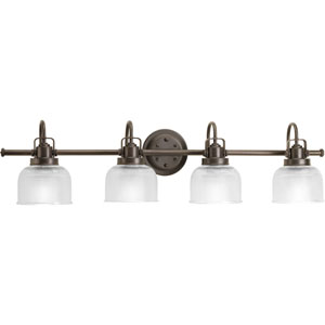 Archie Venetian Bronze Four-Light Bath Fixture with Clear Double Prismatic Glass Shades