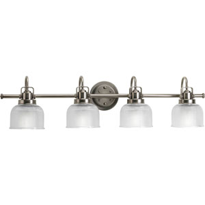 Archie Antique Nickel Four-Light Bath Fixture with Clear Double Prismatic Glass Shades
