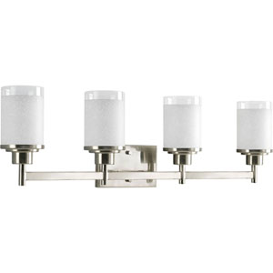 Alexa Brushed Nickel Four-Light Bath Fixture with White Linen Glass Shades