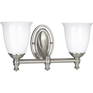 P3028-09:  Victorian Brushed Nickel Two-Light Bath Fixture