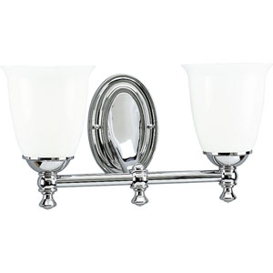P3028-15:  Polished Chrome Two-Light Bath Fixture