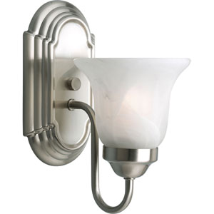 Builder Bath Brushed Nickel One-Light Bracket Bath Fixture with Alabaster Glass