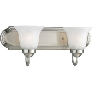 Builder Bath Brushed Nickel Two-Light Bracket Bath Fixture with Alabaster Glass