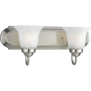 Builder Bath Brushed Nickel Two-Light Elongated Racetrack-Style Bath Fixture with Alabaster Glass