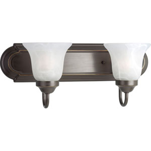 Builder Bath Antique Bronze Two-Light Bracket Bath Fixture with Alabaster Glass