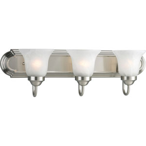 Builder Bath Brushed Nickel Three-Light Bracket Bath Fixture with Alabaster Glass