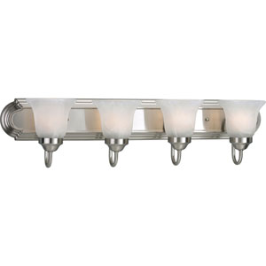 Builder Bath Brushed Nickel Four-Light Bracket Bath Fixture with Alabaster Glass
