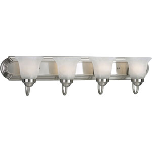 Builder Bath Brushed Nickel Four-Light Elongated Racetrack-Style Bath Fixture with Alabaster Glass