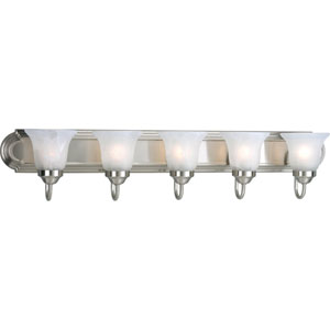 Builder Bath Brushed Nickel Five-Light Bath Fixture with Alabaster Glass