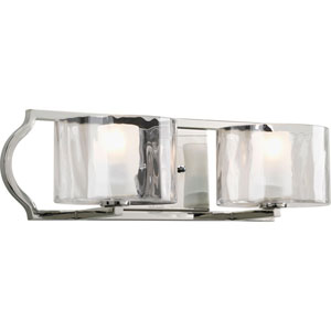 Caress Polished Nickel Two-Light Bath Fixture with Glass Diffuser