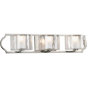 Caress Polished Nickel Three-Light Bath Fixture with Glass Diffuser