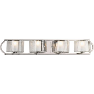 Caress Polished Nickel Four-Light Bath Fixture with Glass Diffuser