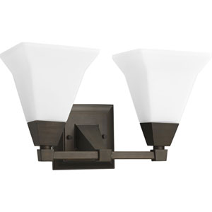Glenmont Venetian Bronze Two-Light Bath Fixture with Opal Etched Glass