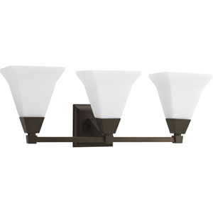 Glenmont Venetian Bronze Three-Light Bath Fixture with Opal Etched Glass