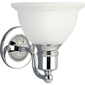 Madison Polished Chrome One-Light Bath Fixture with Etched Glass Bell Shaped Shade