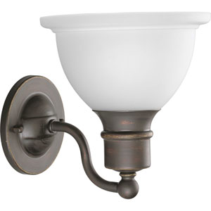 Madison Antique Bronze One-Light Bath Fixture with Etched Glass Bell Shaped Shade