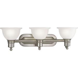 P3163-09:  Madison Brushed Nickel Three-Light Bath Fixture