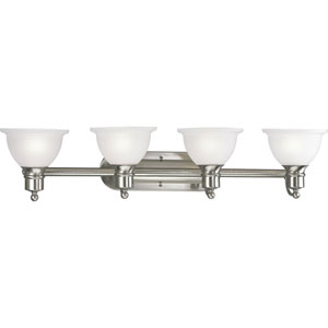 P3164-09:  Madison Brushed Nickel Four-Light Bath Fixture
