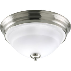 Torino Brushed Nickel Two-Light Flush Mount with Etched Glass Bowl