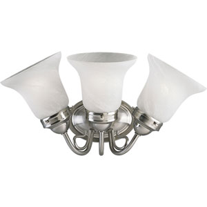 Bedford Brushed Nickel Three-Light Bath Fixture with Alabaster Glass