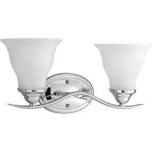Trinity Polished Chrome Two-Light Bath Fixture with Etched Glass