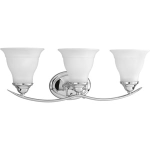 Trinity Polished Chrome Three-Light Bath Fixture with Etched Glass