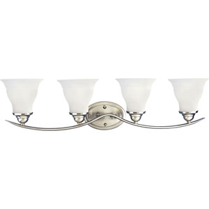 P3193-09:  Trinity Brushed Nickel Four-Light Bath Fixture