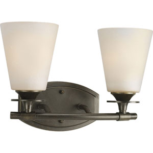 Cantata Forged Bronze Two-Light Bath Fixture with Seeded Topaz Glass